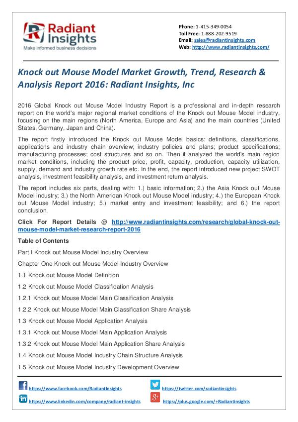 Knock Out Mouse Model Market Growth, Trend, Research 2016 Knock out Mouse Model Market 2016