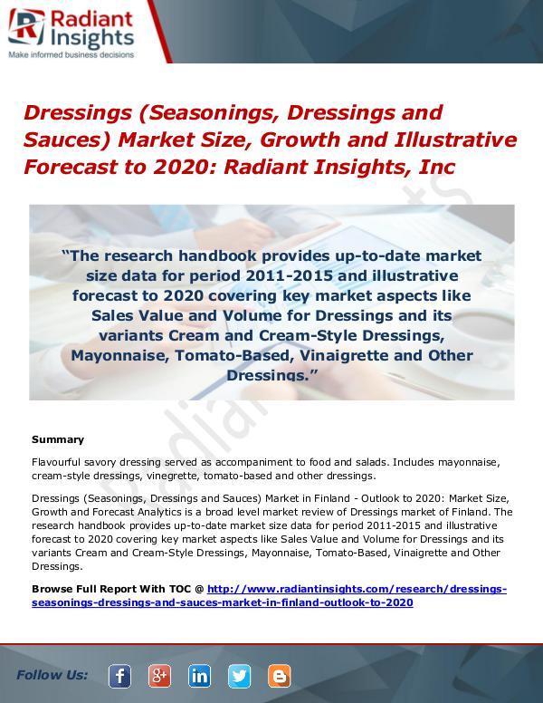 Dressings (Seasonings, Dressings and Sauces) Market Size, Growth 2020 Dressings (Seasonings, Dressings and Sauces)Market