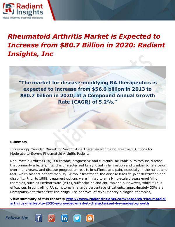 Rheumatoid Arthritis Market is Expected to Increase from $80.7 Rheumatoid Arthritis Market 2020