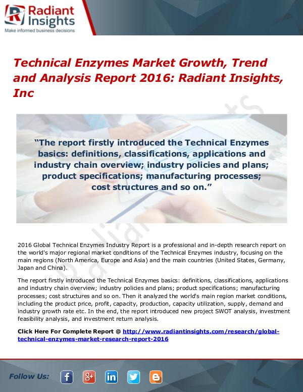 Technical Enzymes Market Growth, Trend and Analysis Report 2016 Technical Enzymes Market 2016