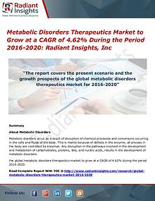 Metabolic Disorders Therapeutics Market to Grow at a CAGR of 4.62%
