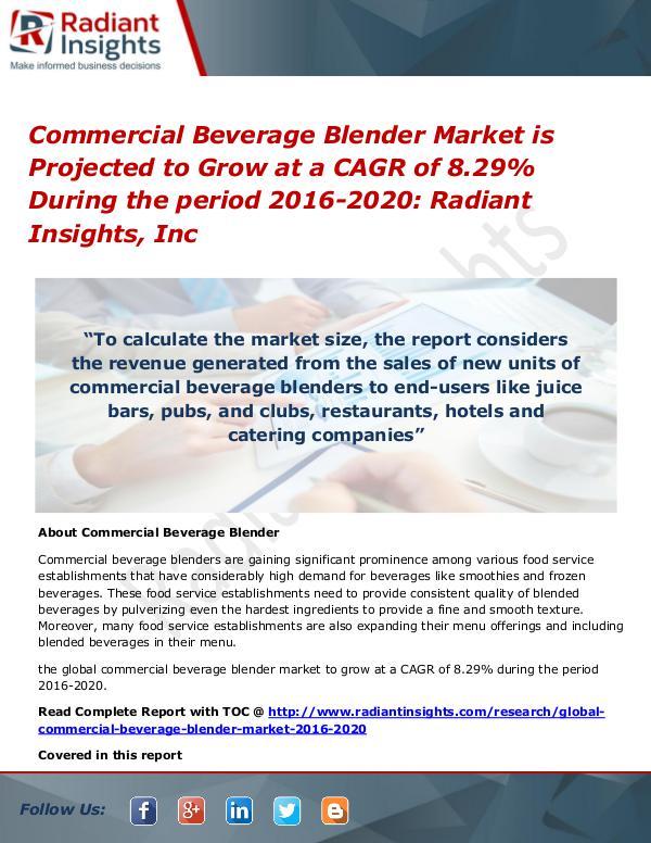 Commercial Beverage Blender Market Commercial Beverage Blender Market 2016-2020