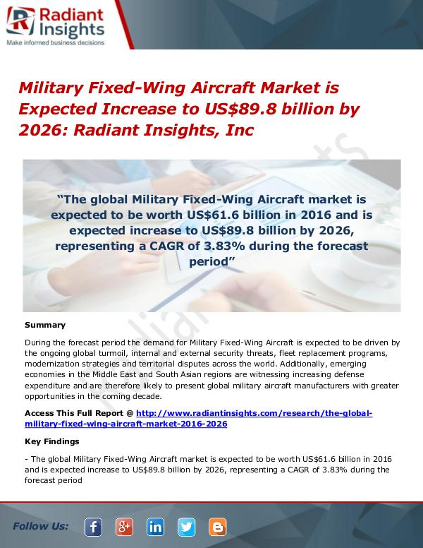 Military Fixed-Wing Aircraft Market is Expected Increase to US$89.8 Military Fixed-Wing Aircraft Market 2026