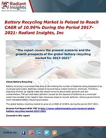 Battery Recycling Market is Poised to Reach CAGR of 10.96%