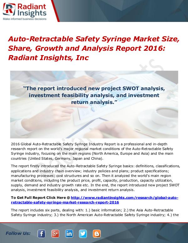 Auto-Retractable Safety Syringe Market Size, Share, Growth 2016 Auto-Retractable Safety Syringe Market 2016