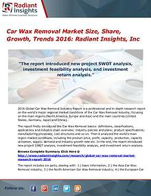Car Wax Removal Market Size, Share, Growth, Trends 2016