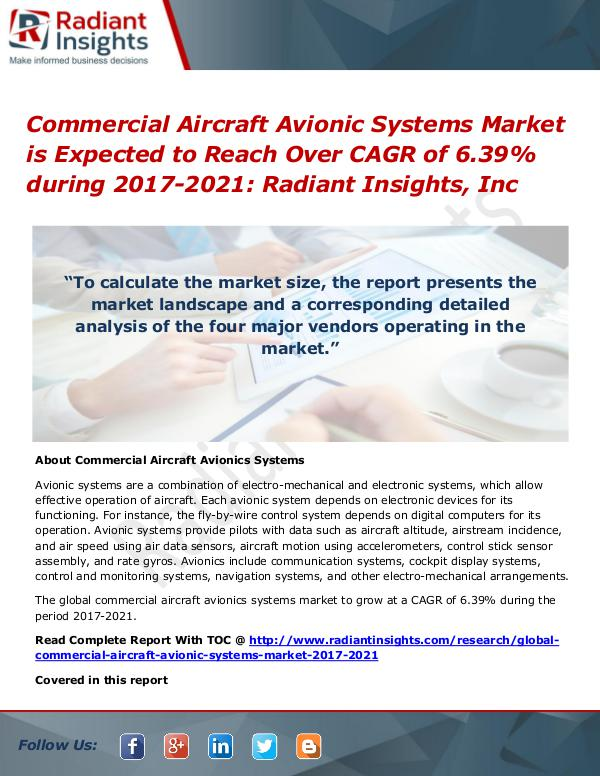 Commercial Aircraft Avionic Systems Market is Expected to Reach Over Commercial Aircraft Avionic Systems Market 2021