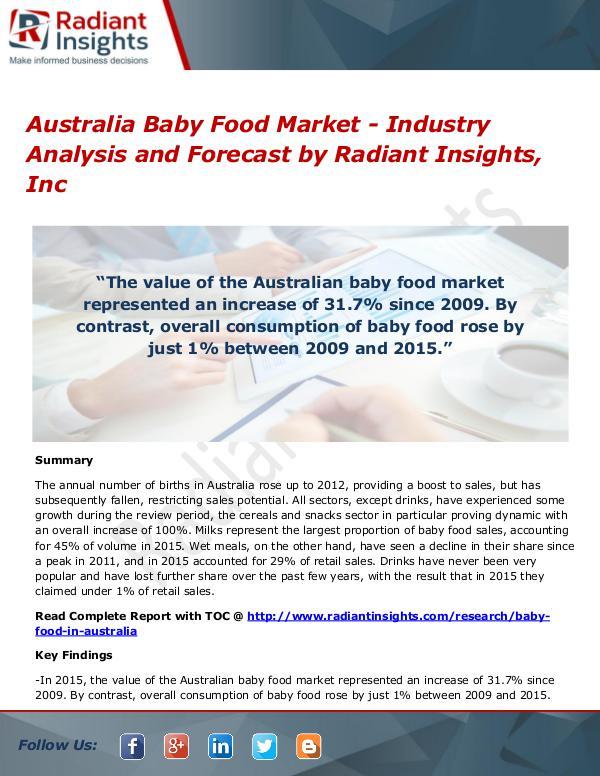 Australia Baby Food Market - Industry Analysis and Forecast Australia Baby Food Market