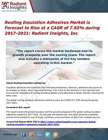 Roofing Insulation Adhesives Market is Forecast to Rise at a CAGR