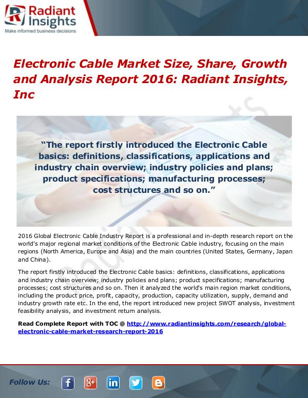 Electronic Cable Market Size, Share, Growth and Analysis Report 2016 Electronic Cable Market 2016