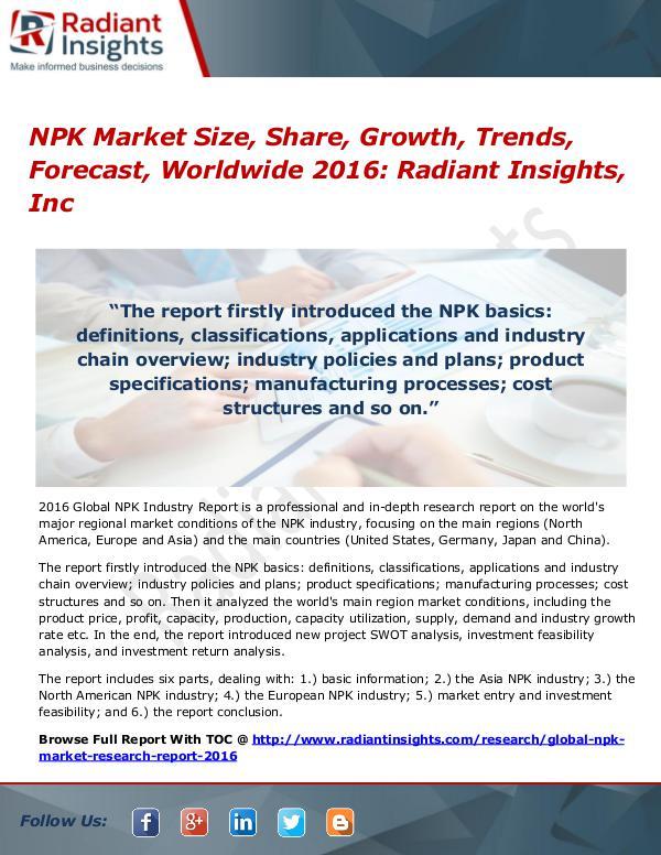NPK Market Size, Share, Growth and Analysis Report 2016 NPK Market 2016
