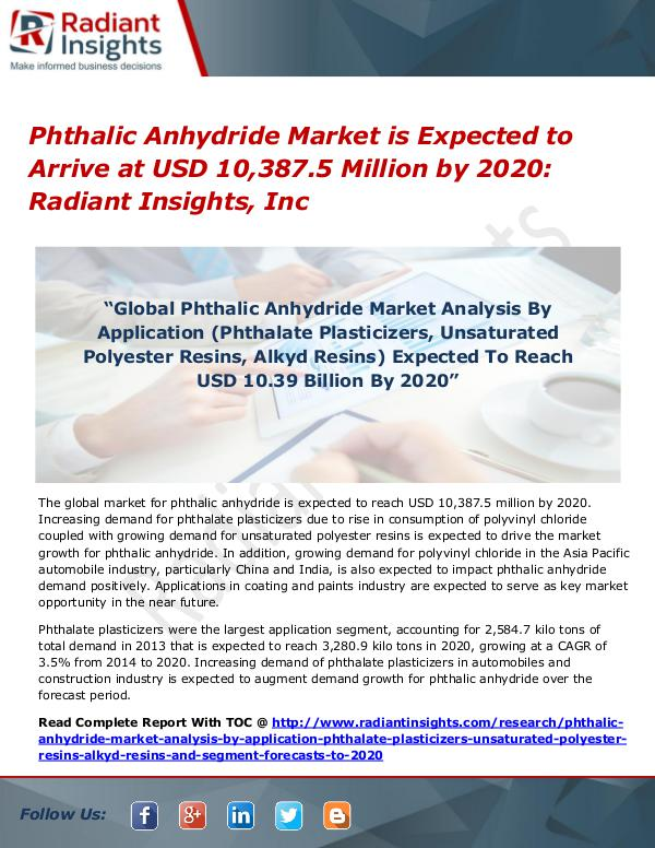 Phthalic Anhydride Market is Expected to Arrive at USD 10,387.5 Phthalic Anhydride Market 2020