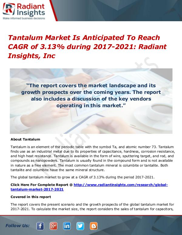 Tantalum Market is Anticipated to Reach CAGR of 3.13% During 2021 Tantalum Market 2017-2021