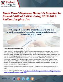 Paper Towel Dispenser Market is Expected to Exceed CAGR of 3.61%