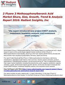 2 Fluoro 3 Methoxyphenylboronic Acid Market Share, Size, Growth 2016