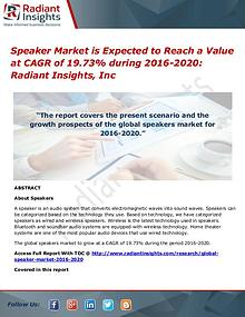 Speaker Market is Expected to Reach a Value at CAGR of 19.73% During