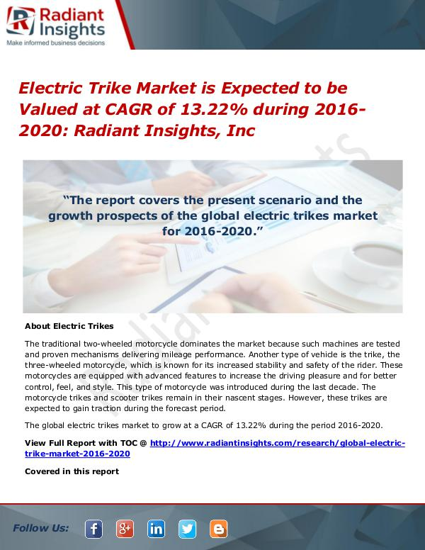 Electric Trike Market is Expected to Be Valued at CAGR of 13.22% Electric Trike Market 2016-2020