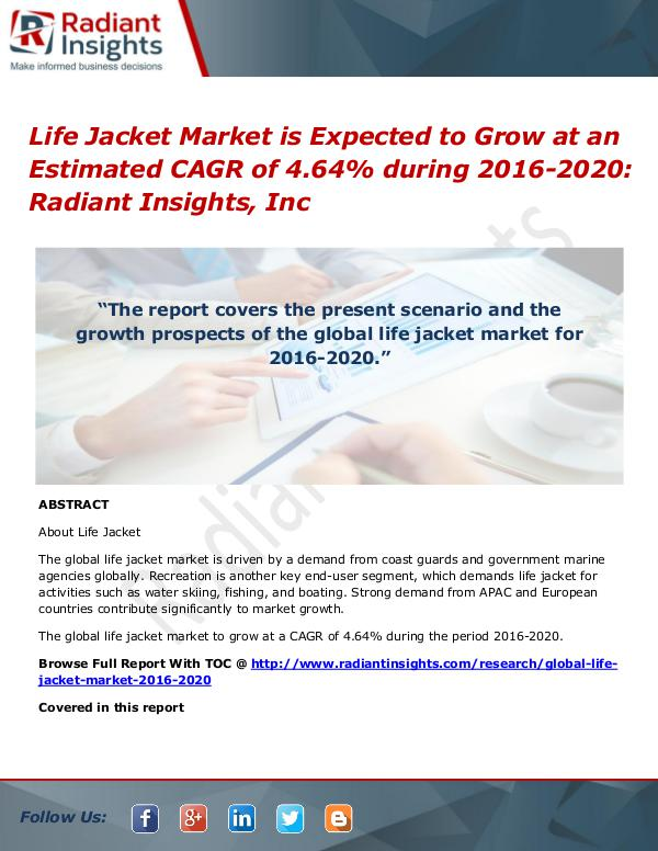 Electric Trike Market is expected to grow by CAGR of 13.22% during 20 Life Jacket Market 2020