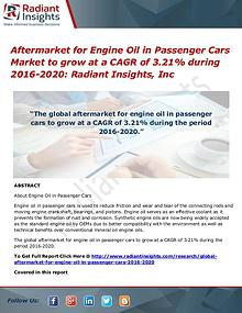 Aftermarket for Engine Oil in Passenger Cars Market to Grow at a