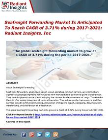 Seafreight Forwarding Market is Anticipated to Reach CAGR of 3.71% Du