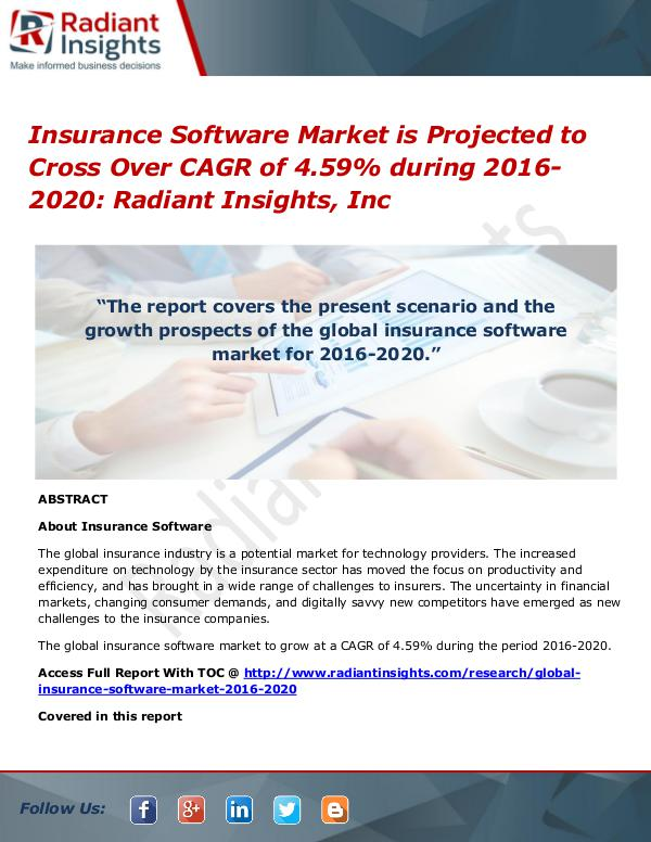 Insurance Software Market is Projected to Cross Over CAGR of 4.59% Insurance Software Market 2016-2020
