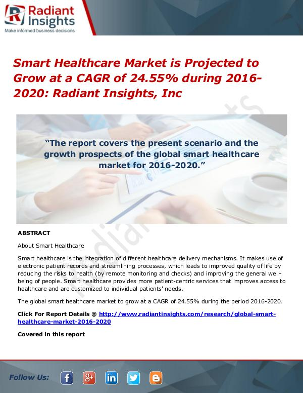 Smart Healthcare Market is Projected to Grow at a CAGR of 24.55% Smart Healthcare Market 2016-2020