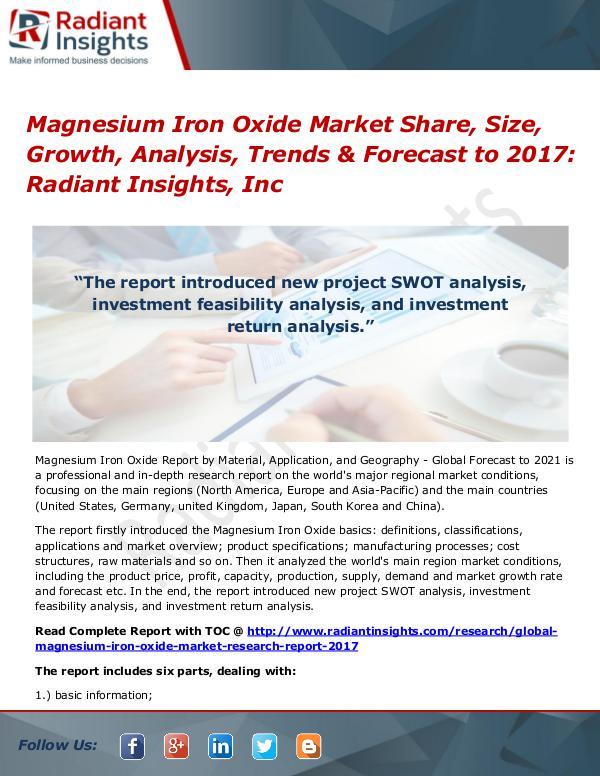 Magnesium Iron Oxide Market Share, Size, Growth, Analysis, Trends Magnesium Iron Oxide Market 2017
