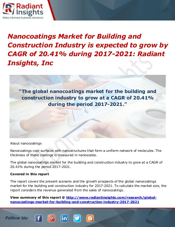 Nanocoatings Market for Building and Construction Industry Nanocoatings Market for Building and Construction