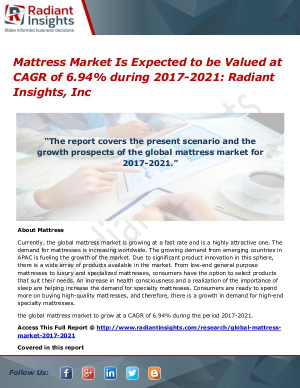 Mattress Market is Expected to Be Valued at CAGR of 6.94% During 2017 Mattress Market 2017-2021