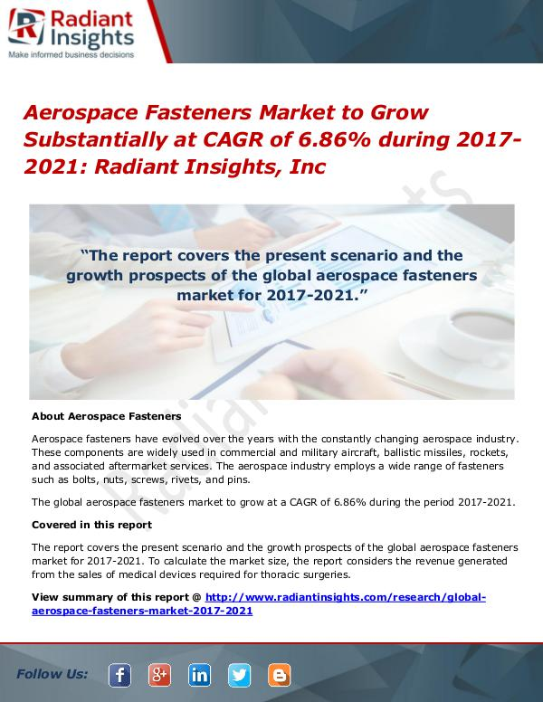 Aerospace Fasteners Market to Grow Substantially at CAGR of 6.86% Aerospace Fasteners Market 2017-2021