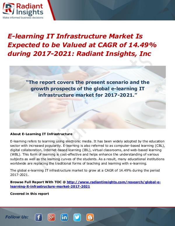 E-learning IT Infrastructure Market is Expected to Be Valued at CAGR E-learning IT Infrastructure Market 2017-2021