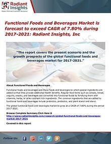 Functional Foods and Beverages Market is Forecast to Exceed CAGR of 7