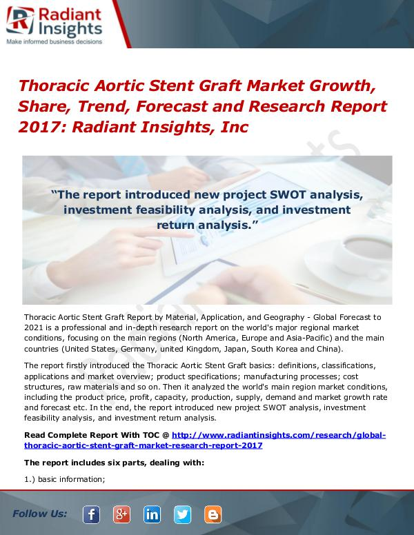 Thoracic Aortic Stent Graft Market Growth, Share, Trend, Forecast2017 Thoracic Aortic Stent Graft Market 2017