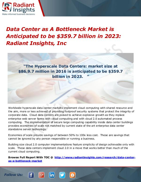 Data Center as A Bottleneck Market is Anticipated to be $359.7 Data Center as A Bottleneck Market 2023