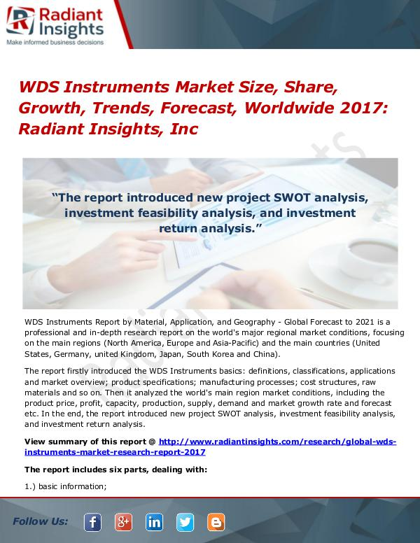 WDS Instruments Market Size, Share, Growth, Trends, Forecast 2017 WDS Instruments Market Size, Share, Growth 2017