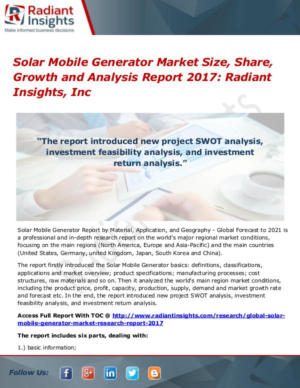 Solar Mobile Generator Market Size, Share, Growth 2017 Solar Mobile Generator Market Size, Share 2017