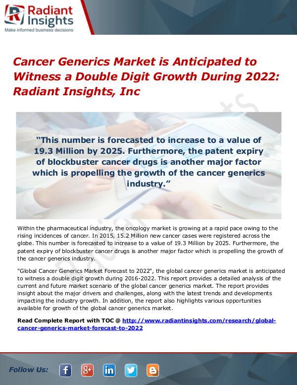 Cancer Generics Market 2022 Cancer Generics Market 2022