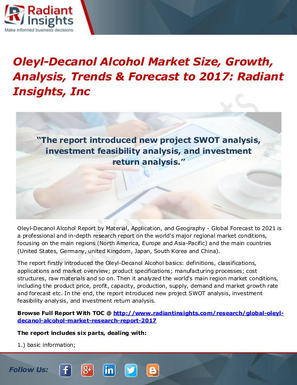 Oleyl-Decanol Alcohol Market Size, Growth, Analysis, Trends 2017 Oleyl-Decanol Alcohol Market Size, Growth 2017