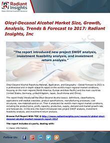 Oleyl-Decanol Alcohol Market Size, Growth, Analysis, Trends 2017
