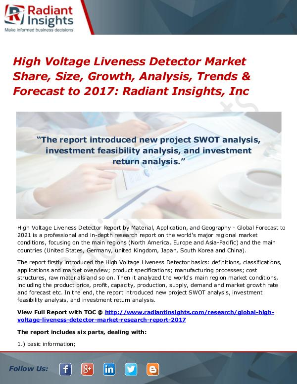 High Voltage Liveness Detector Market Share, Size, Growth, 2017 High Voltage Liveness Detector Market Share 2017