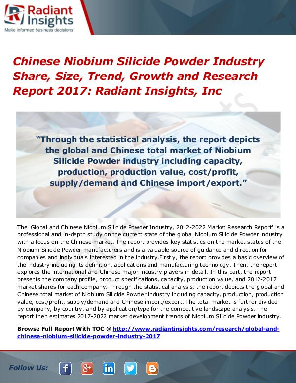 Chinese Niobium Silicide Powder Industry Share, Size, Trend 2017 Chinese Niobium Silicide Powder Industry 2017