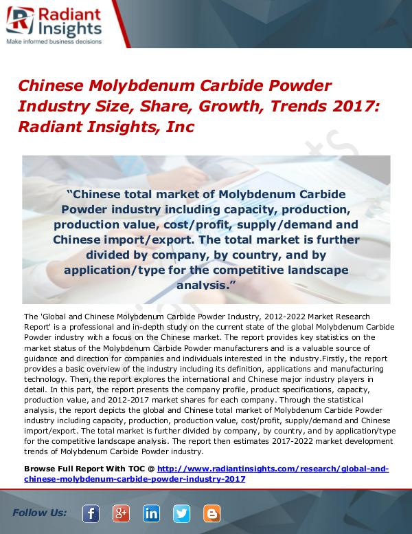 Chinese Molybdenum Carbide Powder Industry Size, Share, Growth 2017 Chinese Molybdenum Carbide Powder Industry 2017
