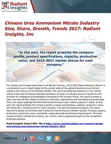 Chinese Urea Ammonium Nitrate Industry Share, Growth, Trend 2017
