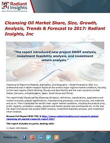 Cleansing Oil Market Share, Size, Growth, Analysis, Trends 2017