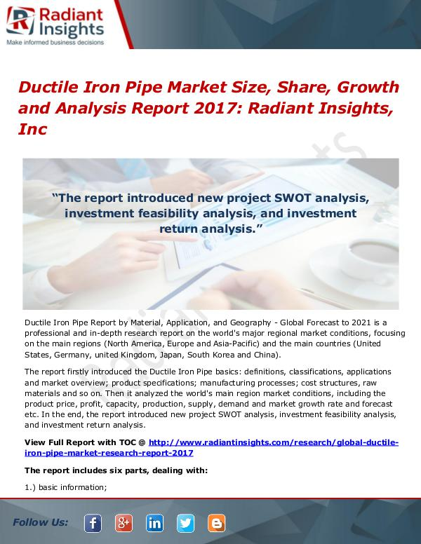 Ductile Iron Pipe Market Size, Share, Growth and Analysis Report 2017 Ductile Iron Pipe Market Size, Share, Growth 2017