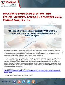 Loratadine Syrup Market Share, Size, Growth, Analysis, Trends 2017