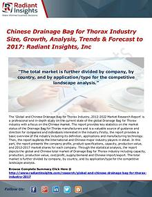 Chinese Drainage Bag for Thorax Industry Size, Growth, Analysis 2017
