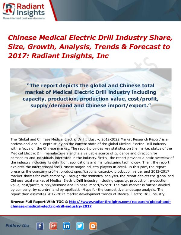 Chinese Medical Electric Drill Industry Share, Size, Growth 2017 Chinese Medical Electric Drill Industry 2017