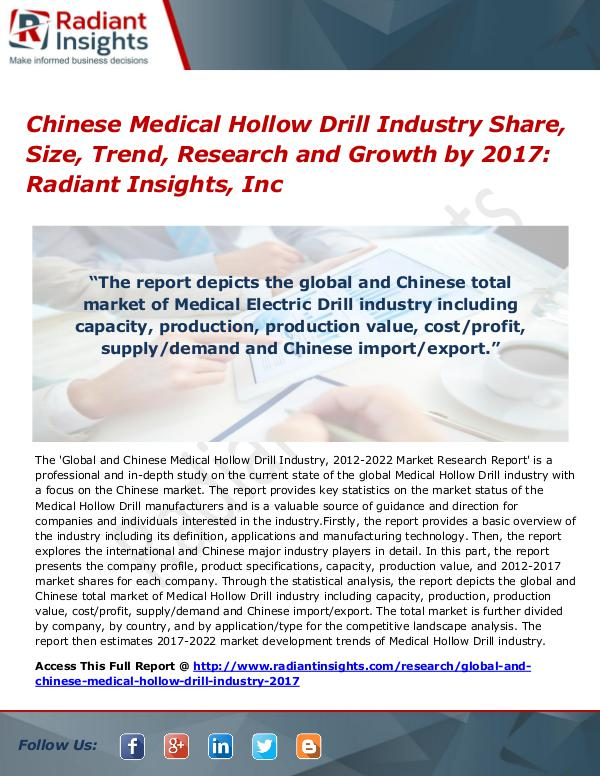 Chinese Medical Hollow Drill Industry Share, Size, Trend 2017 Chinese Medical Hollow Drill Industry Share 2017