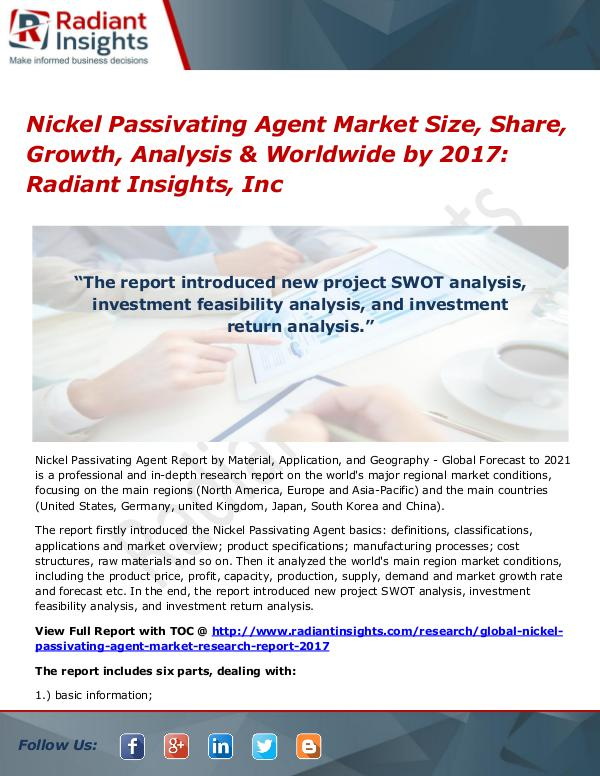 Nickel Passivating Agent Market Size, Share, Growth, Analysis 2017 Nickel Passivating Agent Market Size, Share 2017